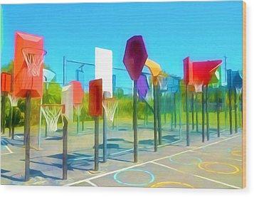 Bankshot Basketball 1 Wood Print by Lanjee Chee