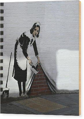 Banksy Maid Wood Print by A Rey