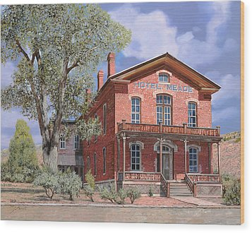 Bannock-montana-hotel Meade Wood Print by Guido Borelli