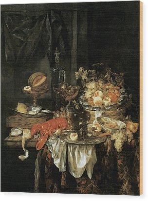 Banquet Still Life With A Mouse Wood Print by Abraham van Beyeren