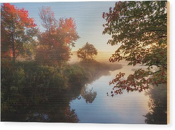 Bantam River Sunrise Wood Print by Bill Wakeley