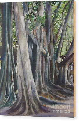 Banyan Trees Wood Print by Karol Wyckoff