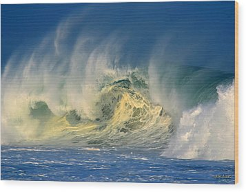 Wood Print featuring the photograph Banzai Pipeline Crashing Wave by Aloha Art