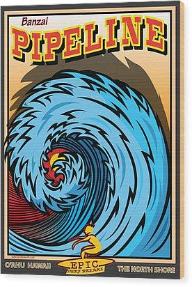 Banzai Pipeline Hawaii Surfing Wood Print by Larry Butterworth