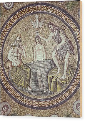 Baptism Of Christ. End 5th C. Italy Wood Print by Everett