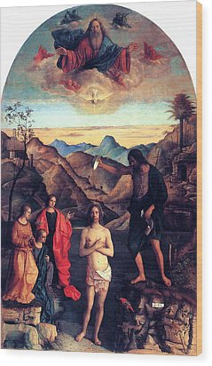 Wood Print featuring the painting Baptism Of Christ With Saint John 1502 Giovanni Bellini by Karon Melillo DeVega