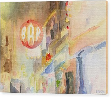 Bar 8th Avenue Watercolor Painting Of New York Wood Print by Beverly Brown Prints
