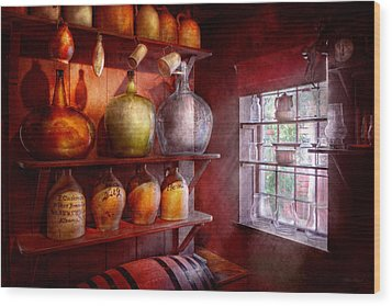 Bar - Bottles - Check Out These Big Jugs  Wood Print by Mike Savad