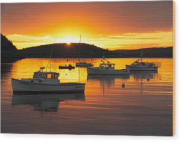 Wood Print featuring the photograph Bar Harbor Sunrise by Bernard Chen