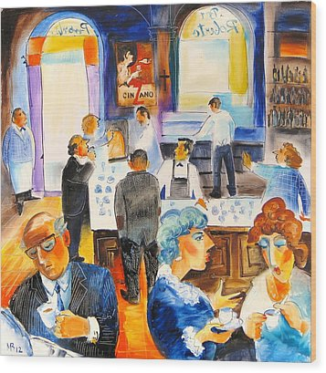 Bar Roberto In Rome Wood Print by Mikhail Zarovny