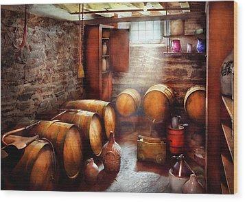 Bar - Wine - The Wine Cellar  Wood Print by Mike Savad