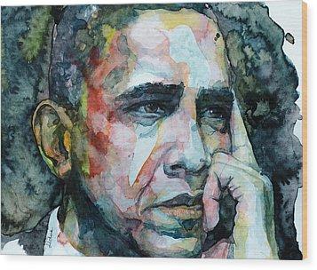 Barack Wood Print by Laur Iduc