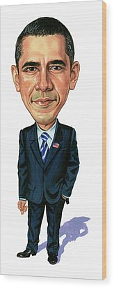 Barack Obama Wood Print by Art