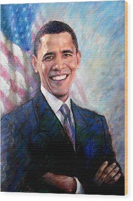 Wood Print featuring the drawing Barack Obama by Viola El