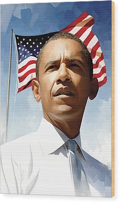 Barack Obama Artwork 1 Wood Print by Sheraz A