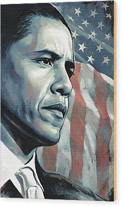 Barack Obama Artwork 2 B Wood Print by Sheraz A