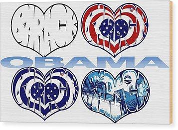 Barack Obama Love Wood Print by Alexis Heath