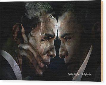 Barack Obama -  Wood Print by Lynda Payton