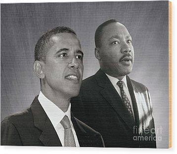 Wood Print featuring the photograph Barack Obama  M L King  by Martin Konopacki Restoration