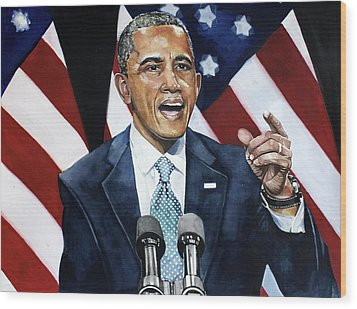 Barack Obama  Wood Print by Michael  Pattison