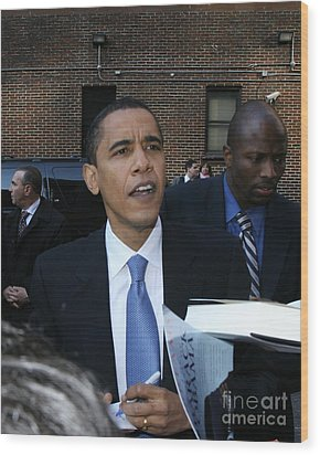 Barack Obama Nyc 4-9-07 Wood Print by Patrick Morgan
