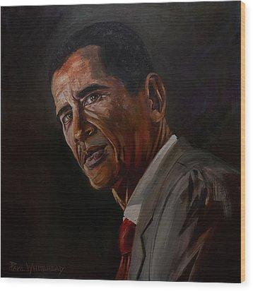 Barak Obama Wood Print by Paul Whitehead