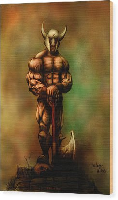 Barbarian King Wood Print