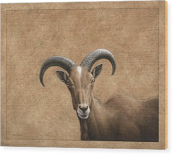 Barbary Ram Wood Print by James W Johnson