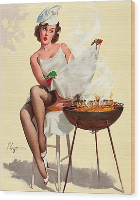 Barbecue Pin-up Girl Wood Print