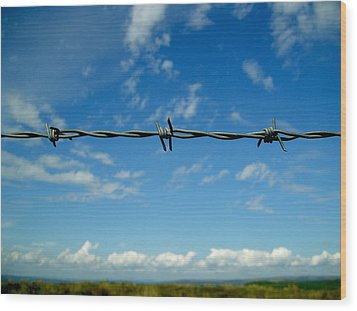 Wood Print featuring the photograph Barbed Sky by Nina Ficur Feenan