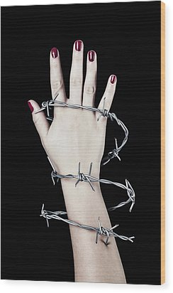 Barbed Wire Wood Print by Joana Kruse
