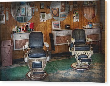 Barber - Frenchtown Nj - Two Old Barber Chairs  Wood Print by Mike Savad