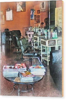 Barber - Hair Salon Wood Print by Susan Savad