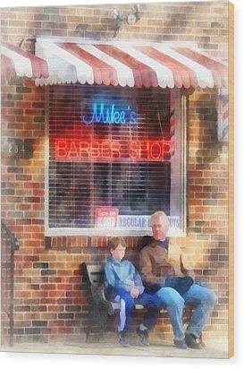 Barber - Neighborhood Barber Shop Wood Print by Susan Savad
