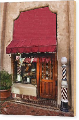 Barber Old Time Wood Print by Cary Shapiro