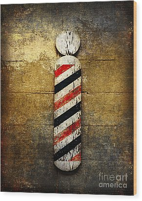 Barber Pole Wood Print by Andee Design