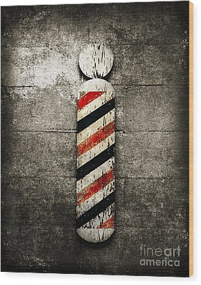 Barber Pole Selective Color Wood Print by Andee Design
