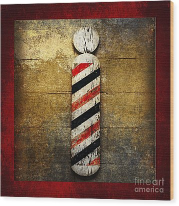Barber Pole Square Wood Print by Andee Design
