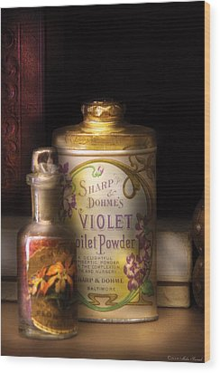 Barber -  Sharp And Dohmes Violet Toilet Powder  Wood Print by Mike Savad