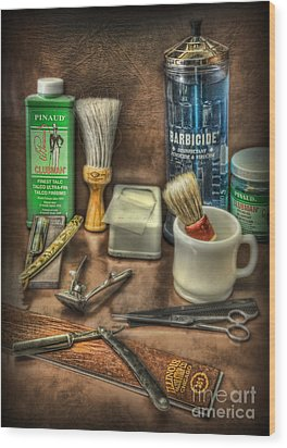 Wood Print featuring the photograph Barber Shop Tools  by Lee Dos Santos