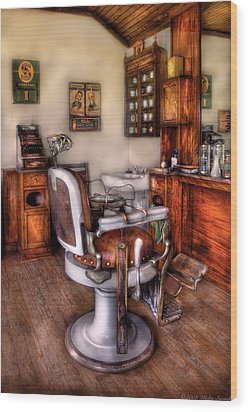 Barber - The Barber Chair Wood Print by Mike Savad