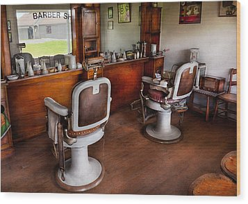 Barber - The Hair Stylist Wood Print by Mike Savad
