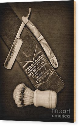 Barber - Tools For A Close Shave - Black And White Wood Print by Paul Ward