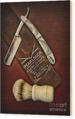 Barber - Tools For A Close Shave  Wood Print by Paul Ward