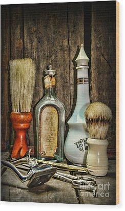Barber - Vintage Barber Bottles Wood Print by Paul Ward