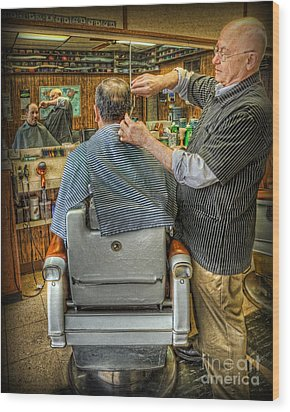 Wood Print featuring the photograph  The Barber Shop Shave And A Haircut - Barber Shop by Lee Dos Santos