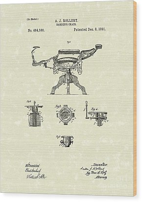 Barber's Chair 1891 Patent Art Wood Print by Prior Art Design