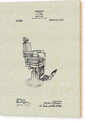 Barber's Chair 1915 Patent Art Wood Print by Prior Art Design
