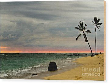 Barbers Point Sunset Wood Print by Terry Cotton