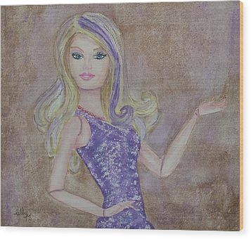 Wood Print featuring the painting Barbie ... Purple by Kelly Mills